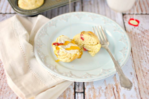 Strawberry Lemon Pancake Muffins l SimplyScratch.com