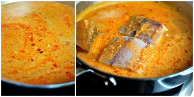 poach the barramundi in the coconut thai curry sauce