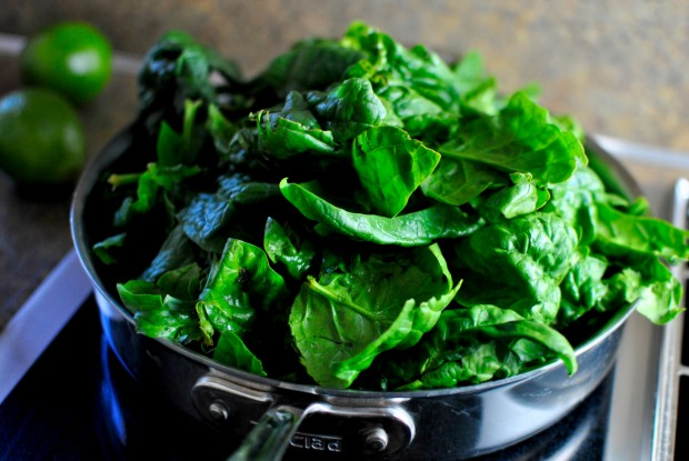 add spinach to a skillet