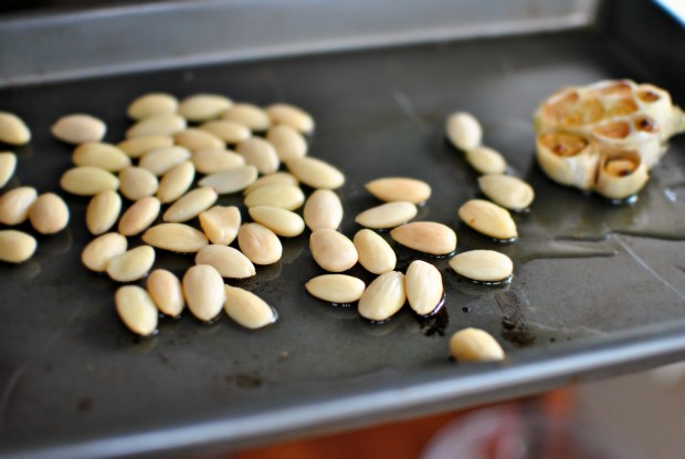 throw almonds on the pan