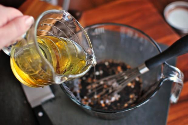 whisk in olive oil