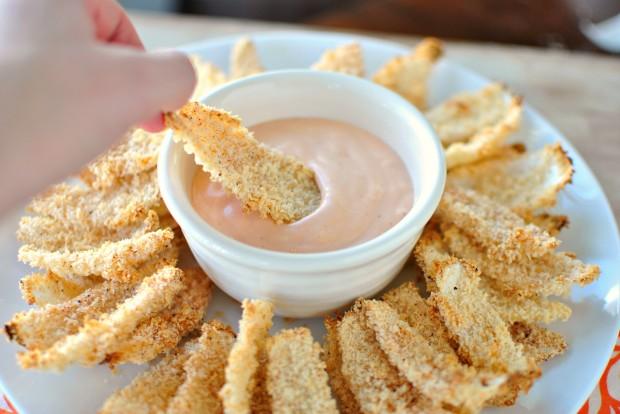 Baked Onion Petals l www.SimplyScratch.com dunk