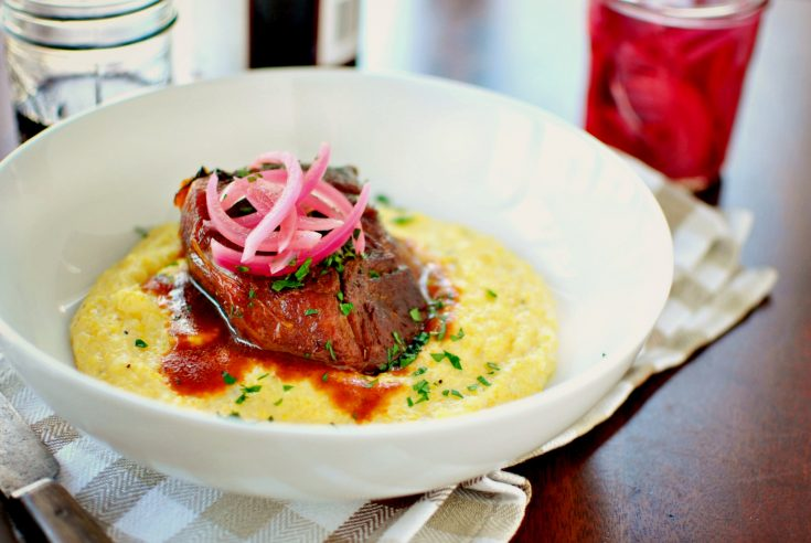 Braised Pork Shoulder with Cheesy Fontina Grits