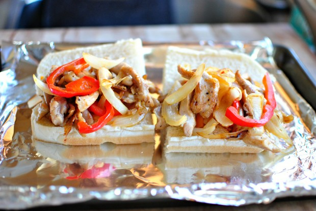 Chicken Cheesesteak Sandwiches l www.SimplyScratch.com chicken, peppers and onions