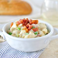 Creamy Pancetta, Leek and Pea Macaroni & Cheese