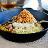 Crispy-Skinned Barramundi with Caramelized Lemon + Brown Butter Crumbs