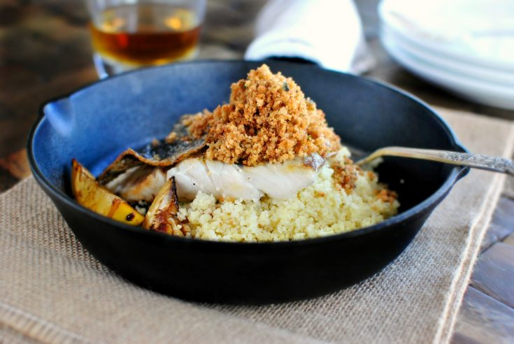 Crispy-Skinned Barramundi with Caramelized Lemon + Brown Butter Crumbs