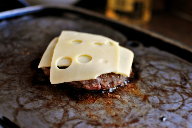 Griddled Steak Burgers with Jarlsberg + Sautéed Onions jarlsberg
