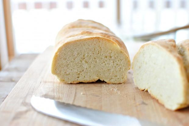 Roasted-Garlic Garlic Bread l www.SimplyScratch.com cut in half