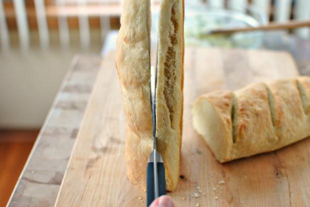 Roasted-Garlic Garlic Bread l www.SimplyScratch.com slice lengthwise