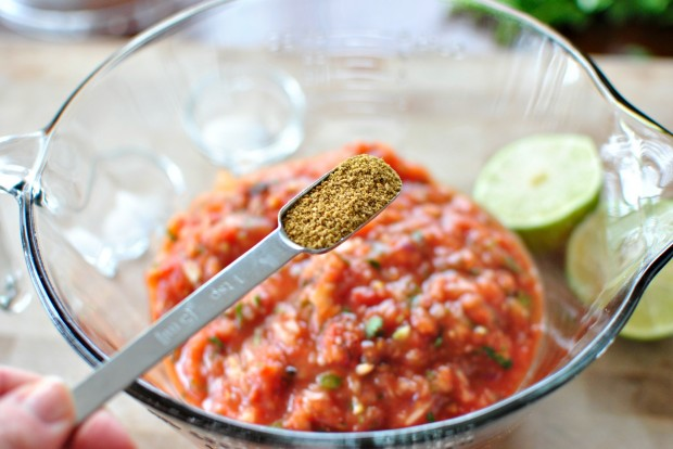Roasted Tomato Salsa + Baked Tortilla Chips www.SimplyScratch.com cumin
