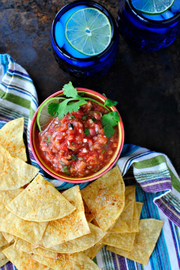 Roasted Tomato Salsa + Baked Tortilla Chips www.SimplyScratch.com