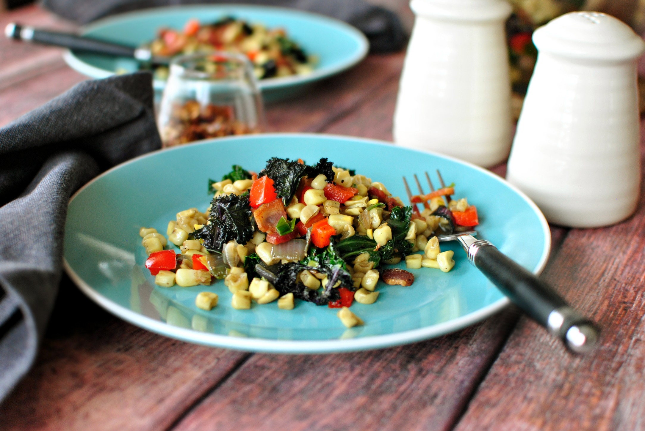 Simply Scratch Bacon, Corn and Kale Sauté - Simply Scratch