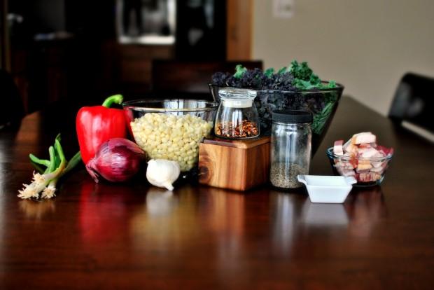 Bacon, Corn and Kale Sauté l SimplyScratch.com