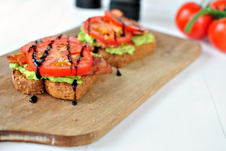 Bacon, Tomato + Avocado Smashed Toast with Balsamic Drizzle