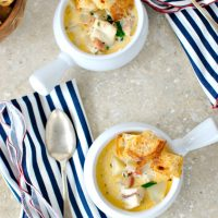 Fish Chowder with Old Bay Sourdough Croutons
