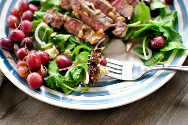 Grilled Steak Salad with Blue Cheese and Grilled Grapes l www.SimplyScratch.com bite