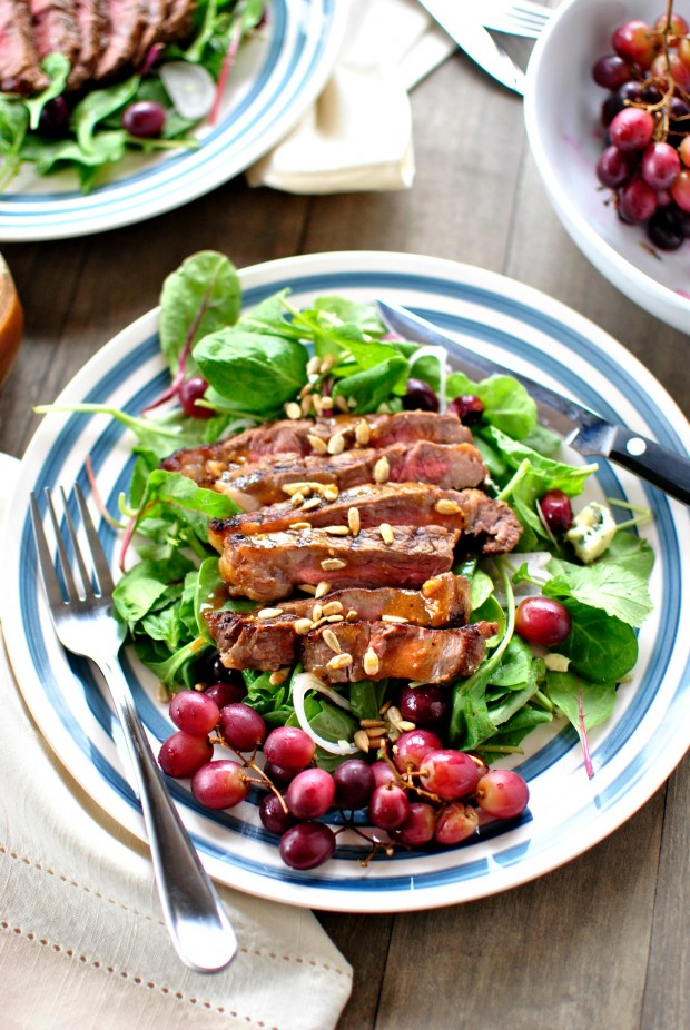 Grilled Steak Salad with Grapes l SimplyScratch.com