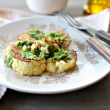 Roasted Cauliflower Steaks with Toasted Walnut + Parsley Pesto l www.SimplyScratch.com