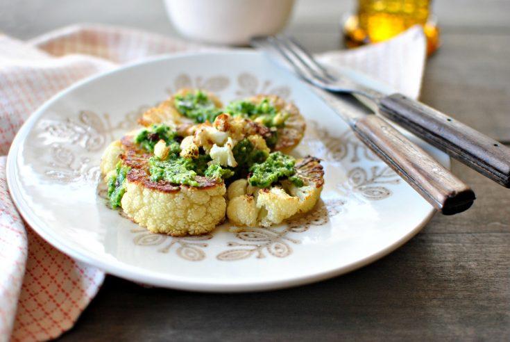 Roasted Cauliflower Steaks with Toasted Walnut Parsley Pesto