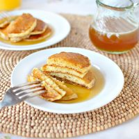 Toasted Cornmeal Pancakes with Honey Butter Maple Syrup