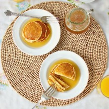 Toasted Cornmeal Pancakes and Honey Butter Maple Syrup l www.SimplyScratch.com #recipe