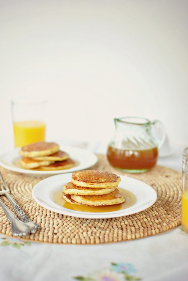Toasted Cornmeal Pancakes and Honey Butter Maple Syrup via www.SimplyScratch.com