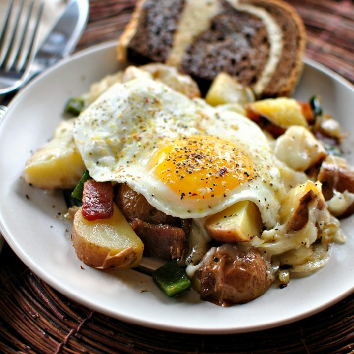Bacon, Potato and Poblano Breakfast Skillet