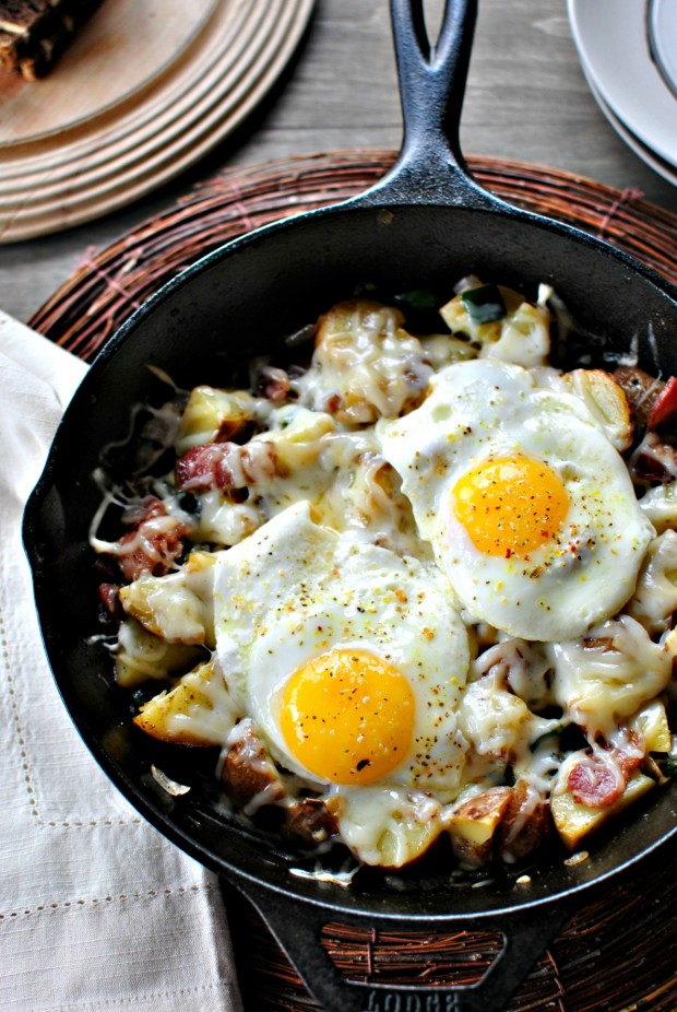 Bacon, Potato + Poblano Breakfast Skillet l www.SimplyScratch.com two eggs on top