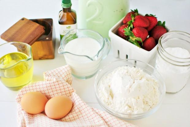 Baked Buttermilk Cake Doughnuts + Fresh Strawberry Glaze l www.SimplyScratch.com ingredients