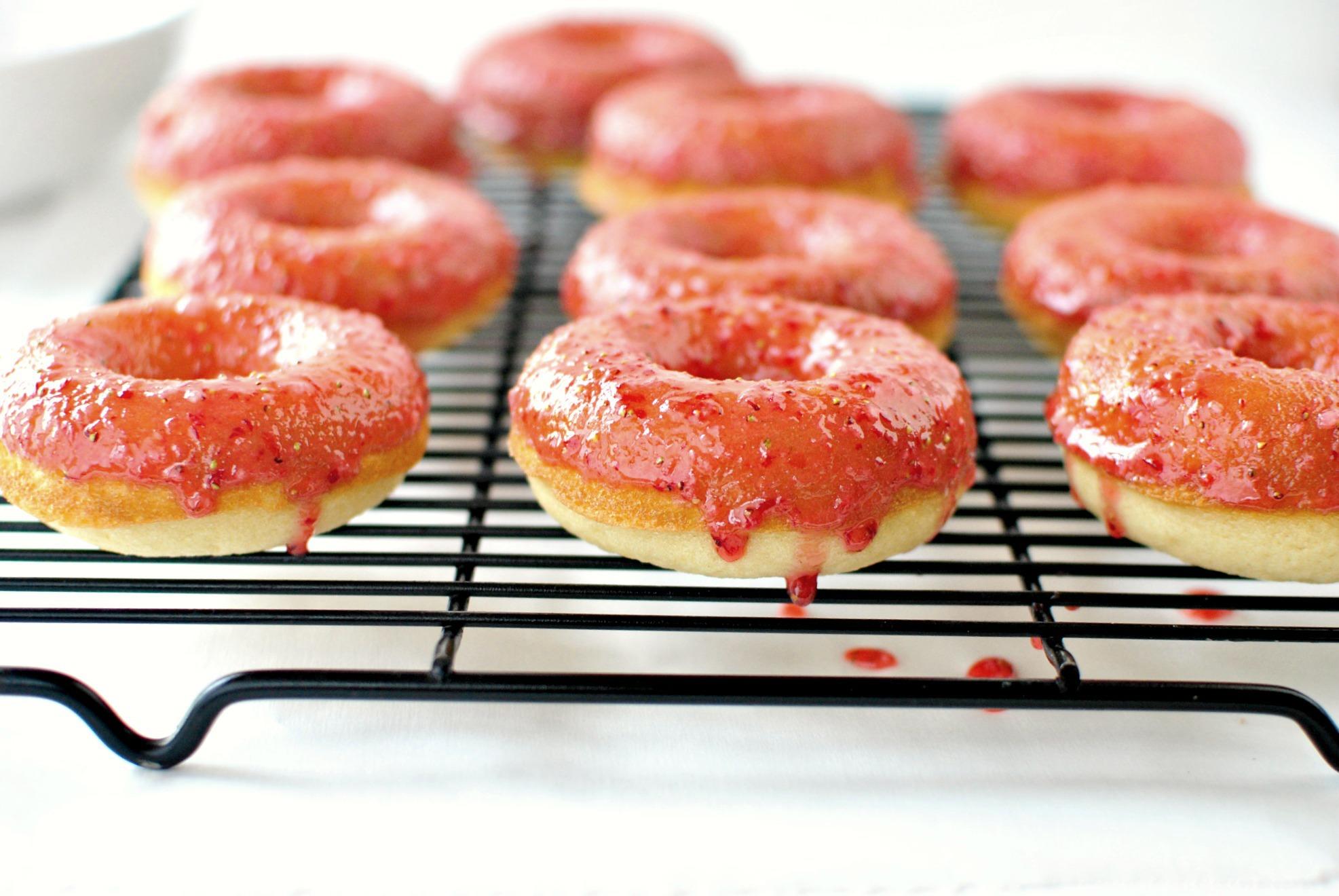 Simply Scratch Buttermilk Cake Doughnuts with Fresh Strawberry Glaze