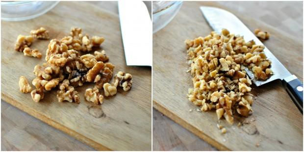 Banana + Chocolate Chunk Streusel Mini Muffins chopped walnuts