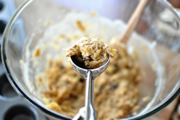Banana Chocolate Chunk Mini Muffins l www.SimplyScratch.com half scoop