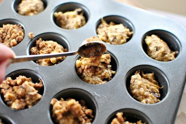 Banana Chocolate Chunk Mini Muffins l www.SimplyScratch.com spoon it over muffins