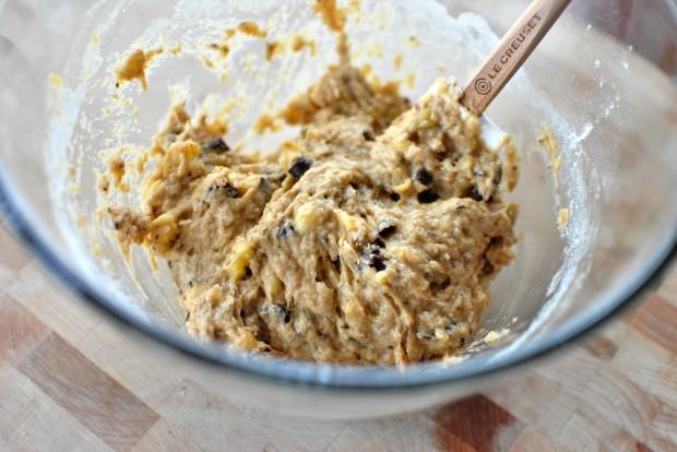 Banana Chocolate Chunk Mini Muffins l www.SimplyScratch.com stir