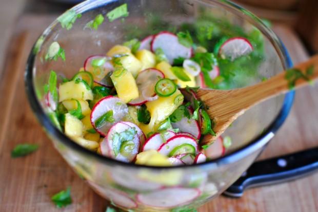 Grilled Turkey Tacos + Mango Radish Salsa www.SimplyScratch.com stir
