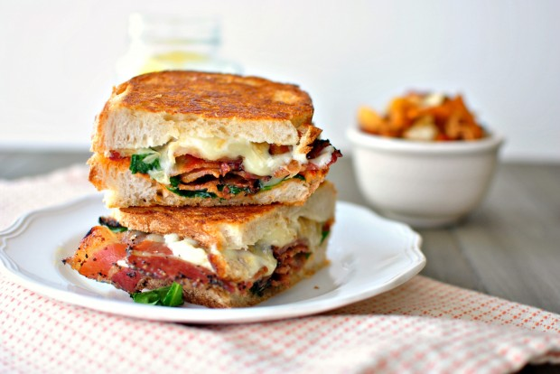 Sundried Tomato Pesto, Spinach + Peppered Bacon Grilled Cheese via www ...