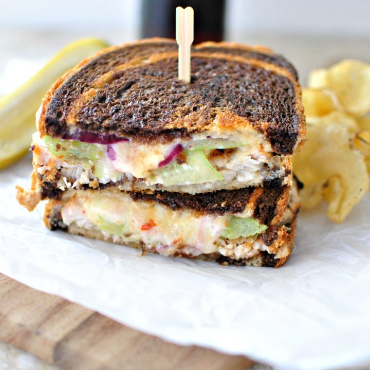 Grilled Adobo Turkey with Green Tomato and Smoked Cheddar Grilled Cheese + Chipotle Honey Mayo