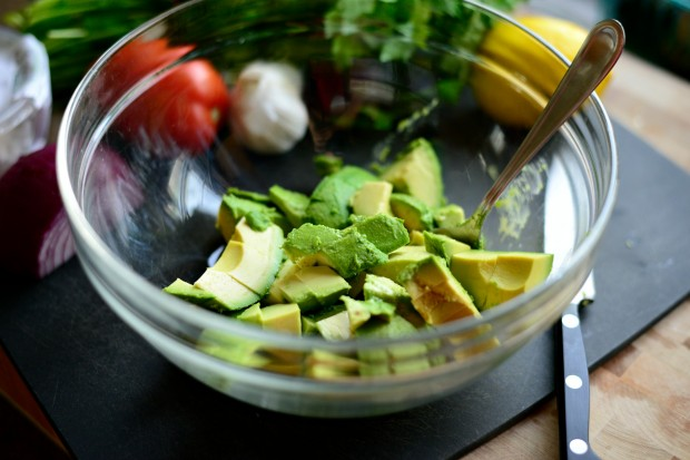 Avocado + Feta Guacamole  www.SimplyScratch.com and into a bowl