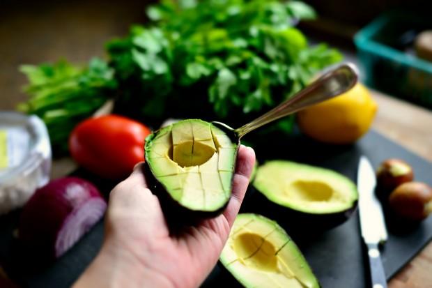 Avocado + Feta Guacamole  www.SimplyScratch.com scoop