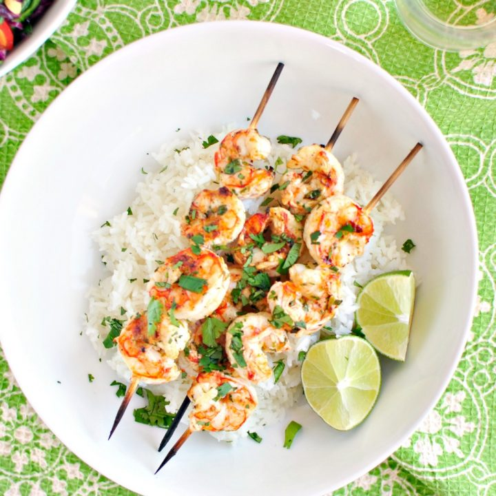 Grilled Garlic and Lime Shrimp Skewers