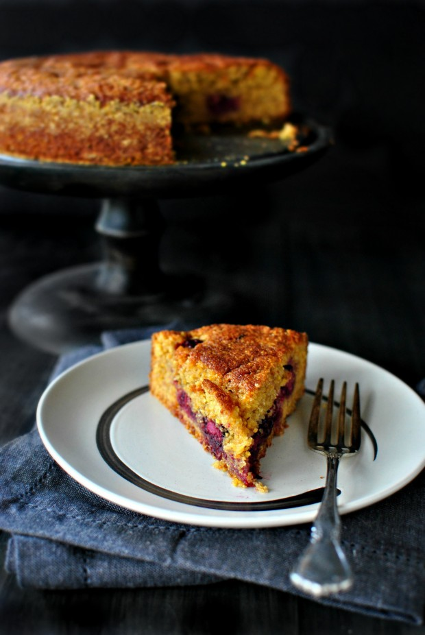 Honey Butter Blackberry + Lemon Polenta Cake via www.SimplyScratch.com #cake #recipe
