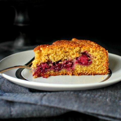 Honey Butter Blackberry Lemon Polenta Cake
