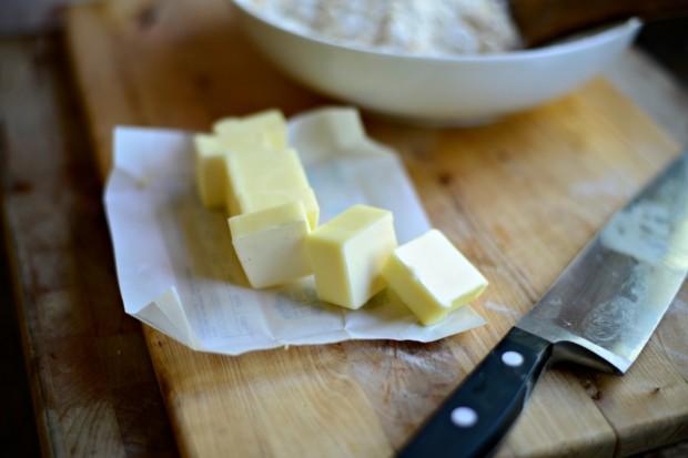 Rhubarb Crumble l www.SimplyScratch.com cut butter