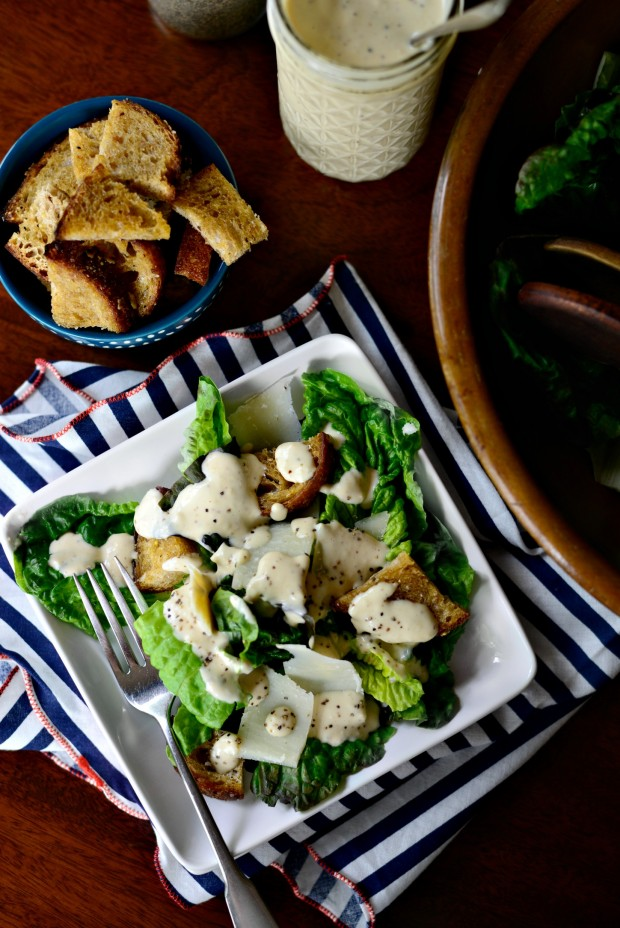 Caesar Salad with Homemade Caesar Dressing and Croutons l www.SimplyScratch.com #recipe