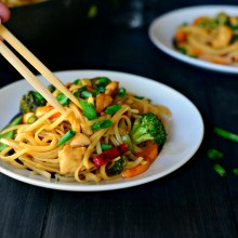 Honey Ginger Chicken Noodle Stir Fry ll www.SimplyScratch.com #recipe