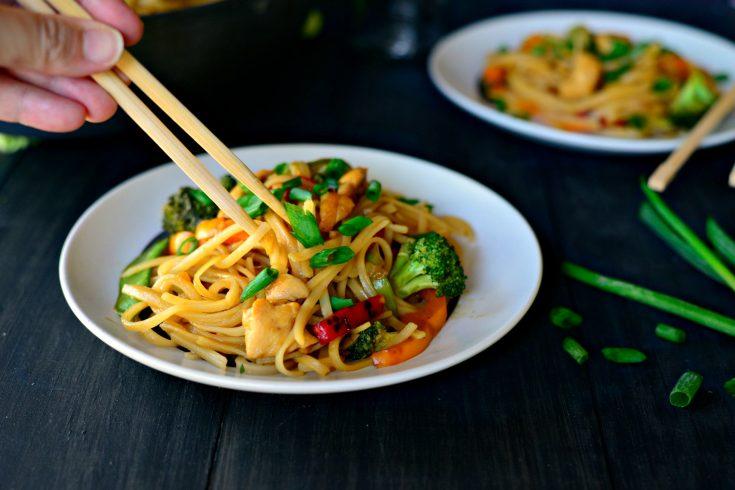 Honey Ginger Chicken Noodle Stir-Fry