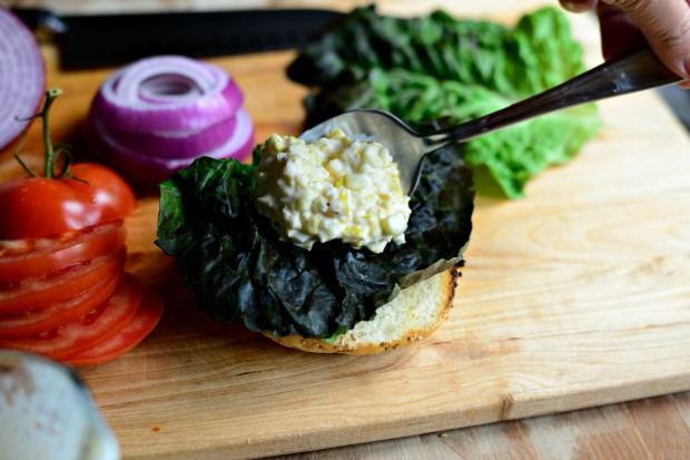 Jalapeno + Cheddar Burgers with Grilled Corn Mayo l www.SimplyScratch.com corn mayo