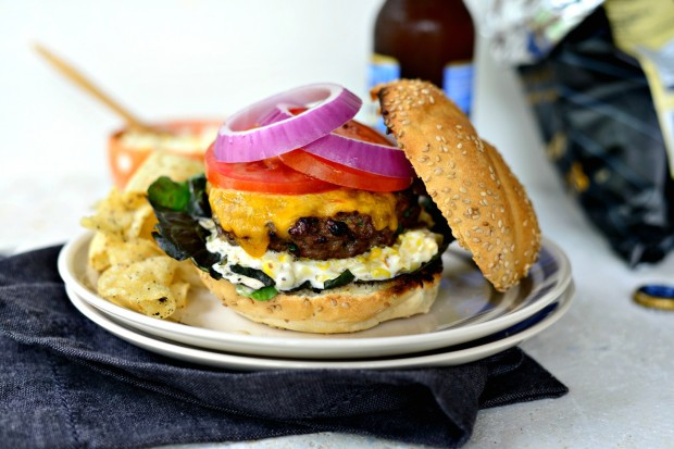 Jalapeno + Cheddar Burgers with Grilled Corn Mayo via www.SimplyScratch.com #burgerweek