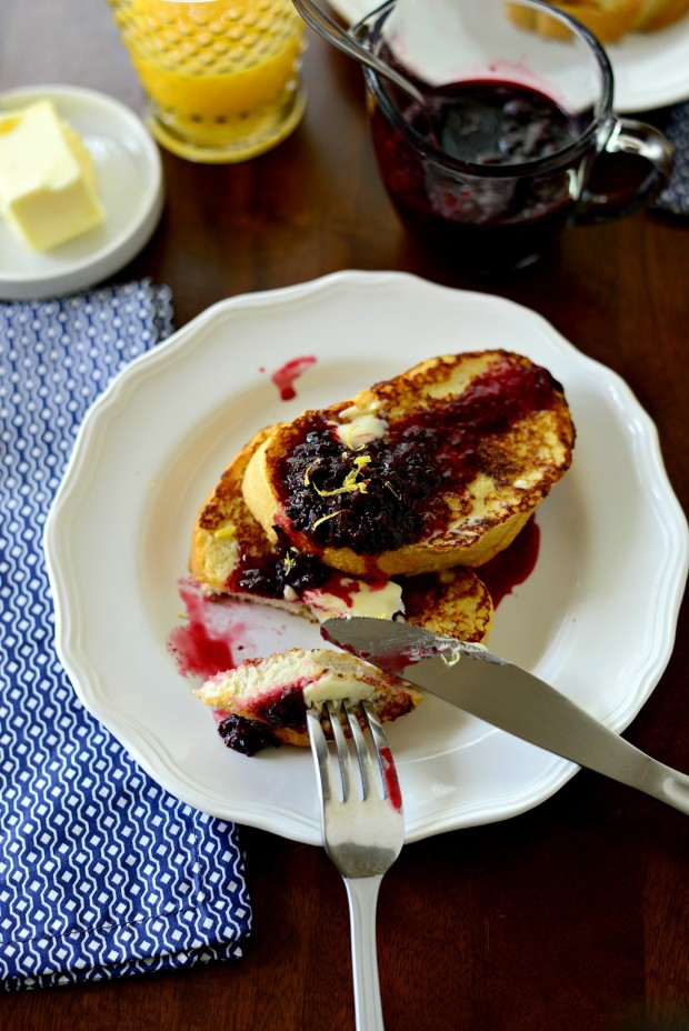 Buttermilk French Toast with a Quick Blackberry Maple Compote www.SimplyScratch.com